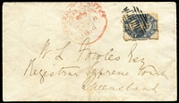 Lot 1025 [1 of 2]:1869 (Dec 18) inwards cover from Hobart to Supreme Court Brisbane with 6d perforated Chalon tied by Hobart dumb cancel with adjacent strike of GPO Hobart-Town Crown datestamp in red, Brisbane (Dec 31) arrival backstamp. Covers from Tasmania to Queensland are rare, particularly so early.