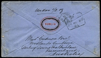 "Lot 1026 [2 of 2]:1876 (Jul 13) cover fom Dublin to Cambooya endorsed ""Via Brindisi & Torres Straits/p Queensland Royal Mail"", with GB 6d Pl 18 tied by Dublin duplex, Brisbane (boxed) & Cambooya backstamps. Attractive cover."