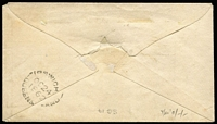 "Lot 992 [2 of 2]:1862 (Oct 24) Rumsey correspondence cover addressed to ""Mrs Cook's Inn, Gatton"" with Small Star Rough Perf 14-16 1d carmine-rose SG #14 tied by Rays '87' cancel, on reverse very fine 'IPSWICH/OC24/1862' datestamp. Scarce and early 1d town-letter rate cover."