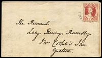 "Lot 992 [1 of 2]:1862 (Oct 24) Rumsey correspondence cover addressed to ""Mrs Cook's Inn, Gatton"" with Small Star Rough Perf 14-16 1d carmine-rose SG #14 tied by Rays '87' cancel, on reverse very fine 'IPSWICH/OC24/1862' datestamp. Scarce and early 1d town-letter rate cover."