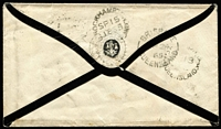 Lot 994 [2 of 2]:1865 (Sep 13) mourning cover from Marlborough to London with 6d Chalon pair tied by Rays 'Q.L.' cancel overpaying (by 2d) the 10d ship-letter rate via Marseilles, cover routed Rockampton to Brisbane to Sydney (by ASN Co steamer) then by P&O Madras to Galle, thence to Suez, cover redirected on arrival to Weston-Super-Mare with '1d' handstamp applied, Marlborough (Rated 4R), Rockhampton & Brisbane backstamps. Desirable cover.