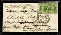 Lot 994 [1 of 2]:1865 (Sep 13) mourning cover from Marlborough to London with 6d Chalon pair tied by Rays 'Q.L.' cancel overpaying (by 2d) the 10d ship-letter rate via Marseilles, cover routed Rockampton to Brisbane to Sydney (by ASN Co steamer) then by P&O Madras to Galle, thence to Suez, cover redirected on arrival to Weston-Super-Mare with '1d' handstamp applied, Marlborough (Rated 4R), Rockhampton & Brisbane backstamps. Desirable cover.