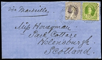 Lot 995 [1 of 2]:1866 (Dec 21) cover from Brisbane to Scotland with Chalons 6d yellow-green P13 & 4d lilac second transfer tied by Rays 'Q.L.' cancels paying 10d ship-letter rate via Marseilles, Ship-Letter/Queensland (1865-67 known use), Glasgow & Helensburgh backstamps, opened on three sides. Fine and attractive.