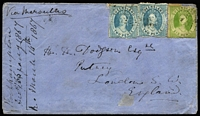 Lot 996 [1 of 2]:1867 Dodgson cover to Putney, England with Chalons 6d (corner fault) & 2d x2 paying 10d ship-letter rate via Marseilles, on reverse Rockhampton, Brisbane Type 3a & London (arrival) backstamps.