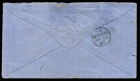 Lot 997 [2 of 2]:1867 (Jan 2) cover to Bristol, England with 6d Chalon paying ½oz ship-letter rate via Southampton, stamp tied by Rays '40' cancel (Rated 2R) with fine Burdekin datestamp beneath (Rated 4R), Bowen Type 1a (Rated 3R) and Bristol backstamps, cover with small upper edge faults.