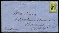 Lot 997 [1 of 2]:1867 (Jan 2) cover to Bristol, England with 6d Chalon paying ½oz ship-letter rate via Southampton, stamp tied by Rays '40' cancel (Rated 2R) with fine Burdekin datestamp beneath (Rated 4R), Bowen Type 1a (Rated 3R) and Bristol backstamps, cover with small upper edge faults.
