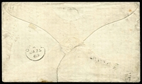 Lot 998 [2 of 2]:1868 (Dec 2) cover from Brisbane to Shropshire, England with Chalons 6d yellow-green P13 & 4d lilac second transfer tied by 'BRISBANE/4/DE2/68' datestamps paying ½oz rate via Marseilles, part Oswestry arrival datestamp on reverse, cover with small upper edge fault & flap tear.