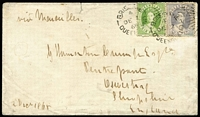 Lot 998 [1 of 2]:1868 (Dec 2) cover from Brisbane to Shropshire, England with Chalons 6d yellow-green P13 & 4d lilac second transfer tied by 'BRISBANE/4/DE2/68' datestamps paying ½oz rate via Marseilles, part Oswestry arrival datestamp on reverse, cover with small upper edge fault & flap tear.