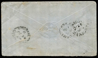 Lot 1000 [2 of 2]:1869 (Oct 23) small cover to Dublin with 6d Chalon, tied by fine Rays '120' cancel (Rated 3R), paying 6d ½oz rate via Southampton, Cambooya, Brisbane & 'H&K PACT' transit backstamps.