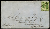 Lot 1000 [1 of 2]:1869 (Oct 23) small cover to Dublin with 6d Chalon, tied by fine Rays '120' cancel (Rated 3R), paying 6d ½oz rate via Southampton, Cambooya, Brisbane & 'H&K PACT' transit backstamps.