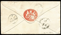 Lot 999 [2 of 2]:1869 (Apr) small cover to England with Chalons 6d & 4d lilac first transfer, tied by Rays '23' cancel, paying 10d ½oz ship-letter rate via Marseilles, on reverse Roma (Rated 5R) & Brisbane transits and Preston arrival backstamps, government seal on flap.