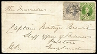Lot 999 [1 of 2]:1869 (Apr) small cover to England with Chalons 6d & 4d lilac first transfer, tied by Rays '23' cancel, paying 10d ½oz ship-letter rate via Marseilles, on reverse Roma (Rated 5R) & Brisbane transits and Preston arrival backstamps, government seal on flap.