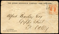 Lot 1001 [1 of 2]:1871 (May 20) Queensland Insurance Co 1d town-letter rate cover from Brisbane to Fortitude Valley with 1d Chalon tied by Brunswick Star 'Q.L' cancel (recorded use May 1867 to September 1875), Brisbane backstamp. Rare cancel on cover.
