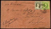 Lot 1004:1873 (Jun 12) cover to London with 3d & 6d Chalon paying ½oz ship-letter rate via Brindisi, stamp tied by Rays 'Q.L.' cancel with Brisbane datestamp alongside, London arrival datestamp in red.