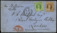 "Lot 1006:1874 (Sep 24) cover to London endorsed ""via Melbourne, Galle"" with 6d and 3d Chalons, tied by Rays '102' cancels with Rockhampton datestamp alongside, stamps paying 9d per ½oz rate, fine Brisbane backstamp & London Paid arrival cancel on face. [In 1874 an agreement was reached with Victoria to route mail by train to Melbourne, thence by P&O ship to Galle.]"