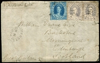 "Lot 1007:1874 (Sep 8) gummed parcel label to Scotland ""via Brindisi"", with Chalons 4d lilac second transfer pair plus 2d tied by Rays '51' cancels (Rated 2R) with adjacent 'SOMERSET/SP8/1874/QUEENSLAND"