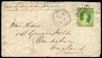 Lot 815:1875 (May 3) cover Brisbane to England with Crown/Q P13 6d Chalon paying 6d rate via Sydney & San Francisco, stamp tied by Rays 'Q.L.' cancel with fine Brisbane datestamp alongside, part Canterbury arrival backstamp, small edge blemishes.