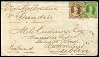 "Lot 1009:1876 (Jun 29) attractive cover to Dublin ""Via Melbourne/& Brindisi"" with 3d & 6d Chalons tied by weak Rays '120' cancels (Rated 3R), Cambooya Type 1b datestamp beneath, Brisbane & 'H&K PACT' backstamps."