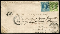 Lot 1015:1878 (Nov 27) Dodgson cover to England with 2d & 6d Chalons paying 8d rate via Torres Straits & Brindisi, stamps tied by Bars '279' cancel (Rated 4R), fine Miles departure & Putney arrival datestamps on front, Brisbane & London transit backstamps.