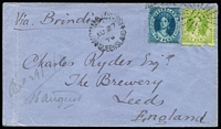 "Lot 1013:1878 (Aug 27) cover to Leeds, England ""Via Brindisi"" with 2d & 6d Chalons tied by Rays '114' cancels (Rated 3R) with largely fine Normanton datestamp alongside (Rated 5R), on reverse fine Townsville (Sep 16) Type 3a transit backstamp (Rated 4R) & Leeds arrival datestamp, small upper edge & flap tears, otherwise fine. [The addressee Charles Ryder was a partner in brewers Joshua Tetley & Sons]"
