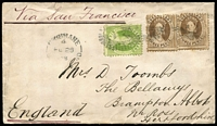 Lot 1012:1878 (Feb 25) cover to England with Chalons 3d pair & 6d paying 1/- double-rate via San Francisco, stamp tied by Rays 'Q.L.' cancel with Brisbane datestamp alongside, on reverse, Ross (Hertfordshire) arrival backstamp.