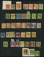 Lot 347 [2 of 3]:1860-80 Chalons Assortment haphazardly presented on Hagners with some better items seen including imperf 1d Chalon x2 (defects), 1860-61 Small Star Clean-Cut P14-16 6d green & (6d) yellow Registered and P14 1d & 2d, later issues with duplication, also some Sideface issues, condition variable. (250 approx)