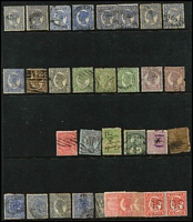 Lot 347 [3 of 3]:1860-80 Chalons Assortment haphazardly presented on Hagners with some better items seen including imperf 1d Chalon x2 (defects), 1860-61 Small Star Clean-Cut P14-16 6d green & (6d) yellow Registered and P14 1d & 2d, later issues with duplication, also some Sideface issues, condition variable. (250 approx)