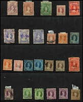 Lot 347 [1 of 3]:1860-80 Chalons Assortment haphazardly presented on Hagners with some better items seen including imperf 1d Chalon x2 (defects), 1860-61 Small Star Clean-Cut P14-16 6d green & (6d) yellow Registered and P14 1d & 2d, later issues with duplication, also some Sideface issues, condition variable. (250 approx)