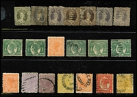 Lot 351 [1 of 4]:Assortment On Album Pages & Hagner with Chalons to 1/- including 4d lilac x4, 1882-92 Sidefaces mint & used including 1d, 2½d carmine & 4d yellow with annotated varieties, some multiples, condition variable. Worth inspection. (150+)