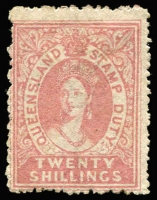 Lot 1122:1866-68 20/- rose SG #F15, light fiscal cancel, regummed, Cat £2,250 (for used).