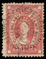 Lot 990 [1 of 2]:1871-72 Postal Fiscals 2/-, 10/- & 20/- plus burelé Band 1/- SG #F19, 22-23 & F27 all with dubious postal cancels, Cat £1,225 (for genuine postal usage). (4)