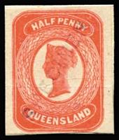 Lot 929:1880 ½d Sideface imperforate litho essay in vermilion on thick card of the final approved design, with faint Type 1 diagonal 'SPECIMEN' overprint. [Essay was prepared as an intended replacement for the ½d on 1d Provisional SG #151]
