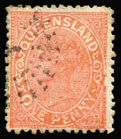 Lot 972 [1 of 2]:1882-91 Lined-Oval Die I Wmk 2nd Crown/Q Perf 12 1d vermilion-red study showing Mould A and Mould B various types plus flaws such as Colour spots, 'LA' joined, Cross stroke on 'Y', 'QU' joined, Worn plate & Blurred print. Good specialist lot. (20)