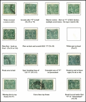 Lot 973 [2 of 2]:1890-94 Lined-Oval Wmk 2nd Crown/Q Perf 12½,13 ½d green SG #184-86 study of varieties & shades on album page, including Wmk reversed, scratches, plates flaws, white spots, weak printing areas, spurs, etc. Nice specialist lot. (16)