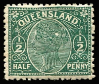 Lot 973 [1 of 2]:1890-94 Lined-Oval Wmk 2nd Crown/Q Perf 12½,13 ½d green SG #184-86 study of varieties & shades on album page, including Wmk reversed, scratches, plates flaws, white spots, weak printing areas, spurs, etc. Nice specialist lot. (16)
