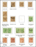 Lot 974 [2 of 2]:1890-94 Lined-Oval Wmk 2nd Crown/Q Perf 12½,13 3d, 6d & 2/- SG #192,192 & 197-8 varieties study on exhibit page including void patches, scratches, damaged cliché, 'QUEEN$LAND' on 3d, 'LA' joined on 2/-, Thin letters on 2/-, etc. Suit the specialist. (16)