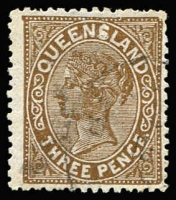 Lot 974 [1 of 2]:1890-94 Lined-Oval Wmk 2nd Crown/Q Perf 12½,13 3d, 6d & 2/- SG #192,192 & 197-8 varieties study on exhibit page including void patches, scratches, damaged cliché, 'QUEEN$LAND' on 3d, 'LA' joined on 2/-, Thin letters on 2/-, etc. Suit the specialist. (16)