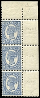 Lot 1116:1907-11 Wmk Crown/A Perf 13x11-12½ 2d bright blue corner marginal vertical strip of 3, perforated in three different combinations of gauges BW #Q22b, upper two units MUH, Cat $150.