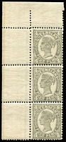 Lot 1118:1907-11 Wmk Crown/A Perf 13x11-12½ 4d grey corner marginal vertical strip of 3, perforated in three different combinations of gauges BW #Q33Ab, mounted in margins only, stamps MUH, Cat $750.