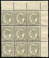 Lot 1119:1907-11 Wmk Crown/A Perf 13x11-12½ 4d grey corner marginal block of 9, perforated in three different gauges, the first column being Die 1 & the central and right column being Die 2 SG #305&a (BW #Q33Ab & Q33Bb). A rare postional piece showing a mix of combinations of dies types & perforations, seven units MUH, Cat £1,050+ (Brusden White Cat $2,250+).