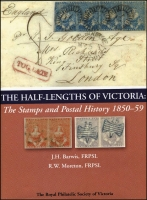 Lot 161:Australian Colonies - Victoria: The Half-Lengths of Victoria: The Stamps & Postal History 1850-59 by Barwis & Moreton (2009), 487pp hardbound with dust jacket, with numerous colour illustrations, original retail $160.