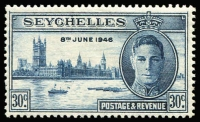 Lot 1654:1946 Victory 30c deep blue Lamp on mast flaw [R1/5] SG #151a, mint, Cat £50.