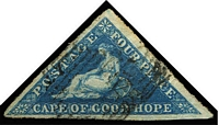 "Lot 1658:1853 Wmk Anchor 4d blue Triangle Unofficially rouletted SG #100, good to large margins, minor aging on reverse, used, Cat £2,250. Necessarily offered ""as is"" as Gibbons advise this issue is best collected on cover."