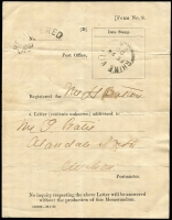 Lot 1161:1900 (Feb 28) registered letter receipt (Form No 9), with Type F1 'RHINE VILLA/FE28/00' datestamp and fine strike of arced 'REGISTERED/No' handstamp. Rare survivor.