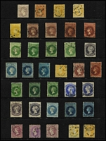 Lot 1039 [2 of 4]:1855-1900s Collection with imperfs (most incomplete margins) London Printing 1d, 2d & 6d (complete margins), Adelaide Printing 1d x2 (both minor defects), 2d x2 & 6d, First Roulettes 1d x2, 2d, 6d & 1/- x2, Second Roulettes 1d x6, 2d x3, 4d, 6d x6, 9d, 10d on 9d x3, 1/- yellow, 1/- brown x4 & 2/-, 1867-70 Perf x Roulette 1d x4, 4d, 6d x3, 10d on 9d & 1/- x2, 1868-79 P11½-12½ 1d x3, 3d on 4d x2 (ex Prussian blue), 4d x2, 6d x3, 9d x3, 10d on 9d x2, 1/- x3, 1870-71 P10 1d x3, 3d on 4d x3 (no Prussian blue, but includes red overprint), 4d x2, 6d x2 & 1/-, 1870-73 P10x11½-12½ (or compound) 1d x3, 3d on 4d x2, 6d x2 & 10d on 9d; 1870 V/Crown 4d dull lilac P10, 1876-1900 Broad Star P11½-12½ to 2/- x3 and P10x11½-12½ (or compound) to 2/- x2, good coverage of later issues (no 'Long Toms') including V/Crown 2d SG #166, surcharges etc; condition variable, but generally fine. Seldom offered to such a degree of completion, high catalogue value. (230 approx) (320+)