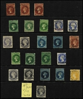 Lot 1039 [3 of 4]:1855-1900s Collection with imperfs (most incomplete margins) London Printing 1d, 2d & 6d (complete margins), Adelaide Printing 1d x2 (both minor defects), 2d x2 & 6d, First Roulettes 1d x2, 2d, 6d & 1/- x2, Second Roulettes 1d x6, 2d x3, 4d, 6d x6, 9d, 10d on 9d x3, 1/- yellow, 1/- brown x4 & 2/-, 1867-70 Perf x Roulette 1d x4, 4d, 6d x3, 10d on 9d & 1/- x2, 1868-79 P11½-12½ 1d x3, 3d on 4d x2 (ex Prussian blue), 4d x2, 6d x3, 9d x3, 10d on 9d x2, 1/- x3, 1870-71 P10 1d x3, 3d on 4d x3 (no Prussian blue, but includes red overprint), 4d x2, 6d x2 & 1/-, 1870-73 P10x11½-12½ (or compound) 1d x3, 3d on 4d x2, 6d x2 & 10d on 9d; 1870 V/Crown 4d dull lilac P10, 1876-1900 Broad Star P11½-12½ to 2/- x3 and P10x11½-12½ (or compound) to 2/- x2, good coverage of later issues (no 'Long Toms') including V/Crown 2d SG #166, surcharges etc; condition variable, but generally fine. Seldom offered to such a degree of completion, high catalogue value. (230 approx) (320+)
