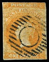 Lot 1044:1856-58 Imperf Adelaide Printing 1/- orange SG #12, margins very close (at top) to good, strong colour, near void grid cancel, Cat £475.