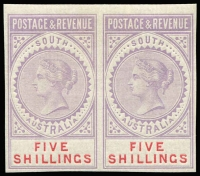 Lot 811:1886-96 'POSTAGE & REVENUE' 5/- plate proof horizontal pair in lilac, with value in carmine, on gummed unwatermarked paper, fresh mint.