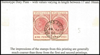 Lot 813 [3 of 4]:1902-04 Thin 'POSTAGE' mint & used 4d to 1/- selection, various printings, between SG #269-83 with P11½-12½ 4d mint x4 & used x4 (two compound perf), 6d mint x1 & used x8, 8d mint x1 & used x5, 9d mint x1 (dull reddish-pink, scarce) & used x5 (two are dull reddish-pink), 10d mint x5 (including a pair) & used x8, 1/- mint x2 (one no gum) & used x2; P12 4d used x5 (two on Detmold paper), 6d used, 9d pair VFU; condition generally fine, possible postmark interest, Cat £900+. (54)