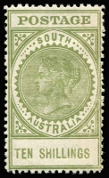 Lot 815:1904-11 Thick 'POSTAGE' Wmk Crown/SA (Close) Perf 12 10/- green SG #291, minor colour transfer on gum, fine mint overall, Cat £200.